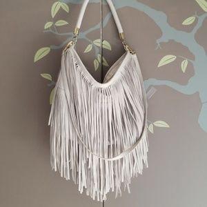 Handbags - Gray faux leather crossbody fringe purse